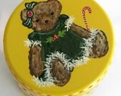Hand Painted Love Boxes Holly Christmas Bear Green Dress Yellow Box Wood