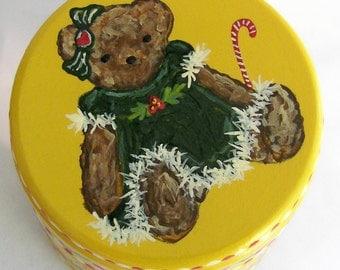 Hand Painted Love Boxes Holly Christmas Bear Green Dress Yellow Box Wood