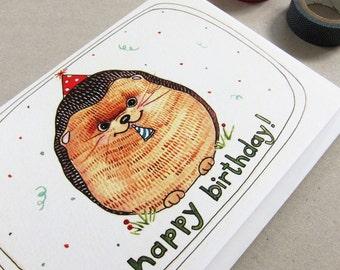Birthday Card - Greeting Card - Happy Birthday Card - Hedgehog Birthday Card - Blank Birthday Card - Funny Birthday Card - Hedgehog Birthday