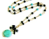 Spinel, Turquoise Necklace, Black Bow Drop, Blue Howlite, Gold Fill, Black Blue Necklace