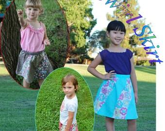 girls skirt pattern, sewing pattern, easy skirt pattern, skirt sewing pattern, pdf instant download, quick sewing pattern, spiral skirt