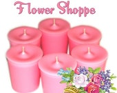 6 Flower Shoppe Votive Candles Refreshing Floral Scent