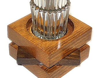 Wooden Candle Holder Recycled Wood for Pillar or Votive Candles Handmade 31C Star Design