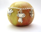 Out of this World - Sterling Silver Space Bracelet - Three Charm Bracelet with Alien, Planet Heart, and Astronaut Charms