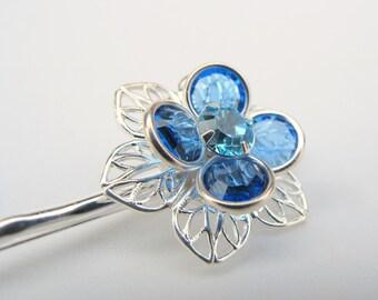 Something Blue No.39 - Swarovski Flower Hair Pin in Sapphire, Aquamarine and Silver