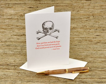 Pirate card - Mark Twain quote - letterpress