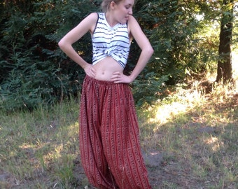 Boho Chic, Harem Pants, Unisex  pants, bellydance pants,  Indian Block Print, Women, Men, One Size Fits All, Pick Your Fabric, Handmade
