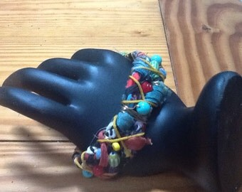 Handcrafted fiber wrapped cuff bracelet