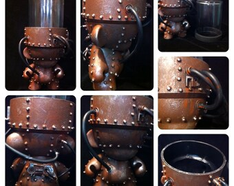 Industrial Brown GrowBot Terrarium Custom  Munny Kidrobot Urban Vinyl Art toy  Dunny Mech DIY