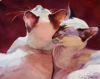 Lilac Siamese Cat Art Oriental Lynx Tabby Print of my watercolor painting   Snuggle