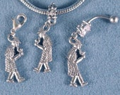 Detective Mystery Charms Holmes European Slide On, Traditional Clip On, Belly Ring or Earrings Tarnish Resistant, Hypoallergenic USA