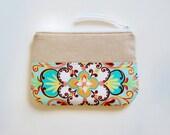 Zipper Pouch Cosmetic Case Makeup Bag Mint Large Fleur Sun Drop