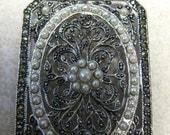 SALE  Sterling Silver Marcasite Pearl Pendant