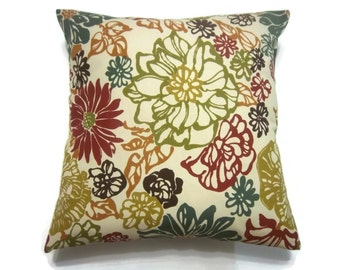 Decorative Pillow Cover Floral Design Multicolored Red Olive Green Gold Brown Teal/Gray Burnt Orange Same Fabric Front/Back 18x18 inch x