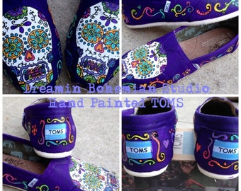 Sugar Skulls Day of the Dead hand painted purple TOMS