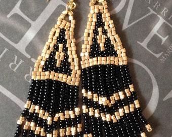 Beadwork Earrings - Black and Gold Long Metallic Fringe Earrings