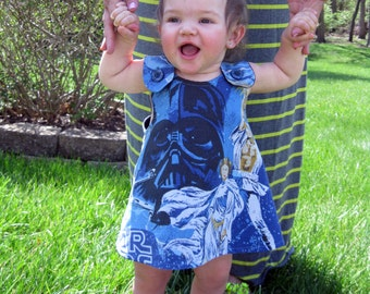Star Wars baby dress pinafore themed reversable one size fits all retro upcycled fabric shower gift inspired
