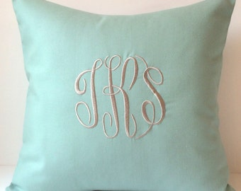 Monogrammed Pillows. 18 x 18 Throw Pillow Cover. Personalized Gift. Dorm Decor Bedding. Decorative Pillows. Housewarming Gift. SewGracious.