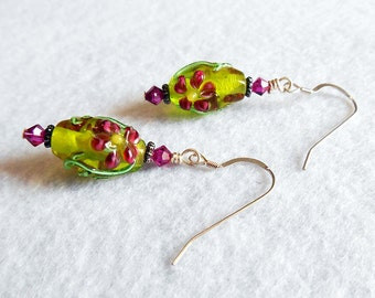 Green Lampwork flower and silver drop beaded earrings - Destash sale - Clearance
