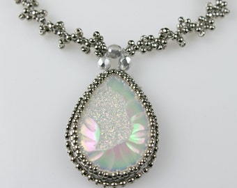 Creamy Druzy Bead Embroidered Necklace