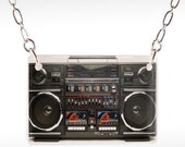 80s Boombox Necklace - boombox jewelry, 80s necklace, 80s jewelry, old radio necklace, old radio jewelry