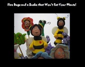 Polymer Clay Plant Pals tutorial, step by step illustrated instructions to make 6 plant pokes or sticks. Fun for kids!