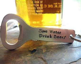 Bottle Opener Keychain, Gift for Dad, Father's Day,  Personalized Hand Stamped, Custom Bottle Opener, Best Man Gift, Beer Bottle Opener