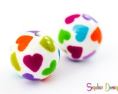 Hearted Beads - 2 polymer clay round beads - 16mm