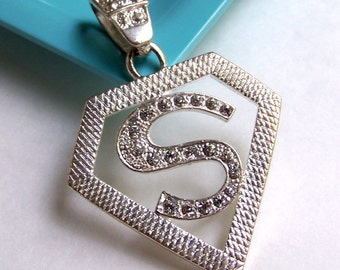 SJK Vintage -- Large Sterling Silver and Rhinestone Superman House of El Crest Pendant (1970's-80's)