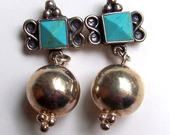 SJK VINTAGE -- Mexican Sterling and Turquoise Ball Dangle Pierced Earrings (1960's-70's)