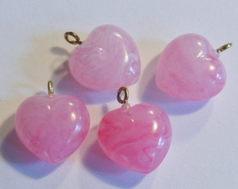 Vintage heart beads (4) Puffy pink charms drop marbelized lucite plastic loop at top 18mm (4)