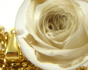 Large Gold Rose Necklace, White Flower Pendant with Gold Plated Sterling Silver Chain, Floral Necklace