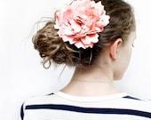 Blush pink wedding flower, Silk hair flower, Bridal headpiece