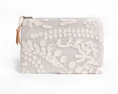 Linen and Lace zip clutch purse, READY TO SHIP
