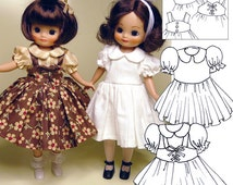"Betsy McCall sewing pattern - Tiny Betsy 8"" pattern download - Puffy Sleeve Dress and Pinafores - PDF doll clothes"