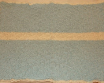 Knitted Baby Blanket in Blue with White Stripe #5041