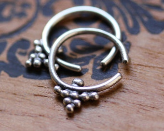 Boho hoop earrings, small hoop earrings silver, silver huggie earrings, threader earrings silver, 16 gauge earring, henna, ready to ship