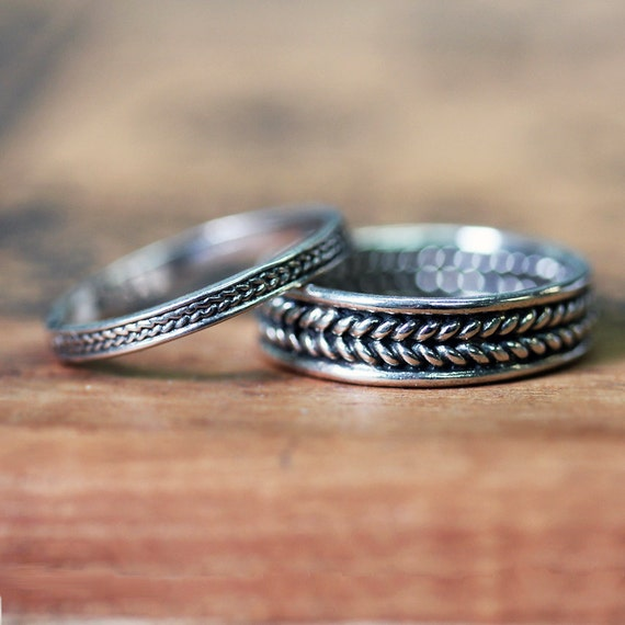 Braided wedding band, silver wedding ring set, wheat wedding bands, oxidized, recycled sterling silver, eco friendly, custom made to order