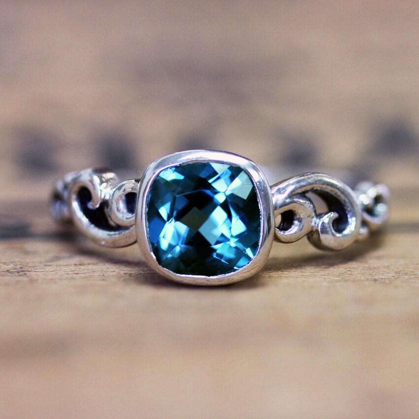 london blue topaz engagement ring december birthstone ocean. Black Bedroom Furniture Sets. Home Design Ideas