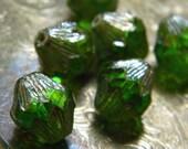 Regal Absinthe (6) -Czech Glass Baroque Bicones 13x11mm