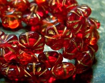 Fire Poppies (10) -Czech Glass Puffed Flowers 11mm