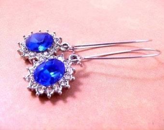 Rhinestone Earrings, Sapphire Blue Rhinestone and Silver Dangle Earrings, FREE Shipping U.S.