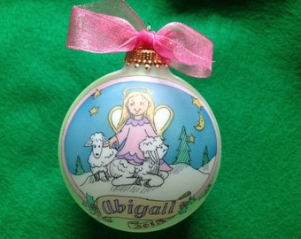 "New ""ANGEL WITH LAMBS"" Ornament, Original Handpainted Personalized Ornament"