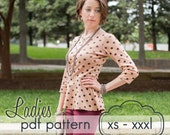 Ladies Peplum Top - INSTANT DOWNLOAD - xs through xxxl - pdf sewing pattern