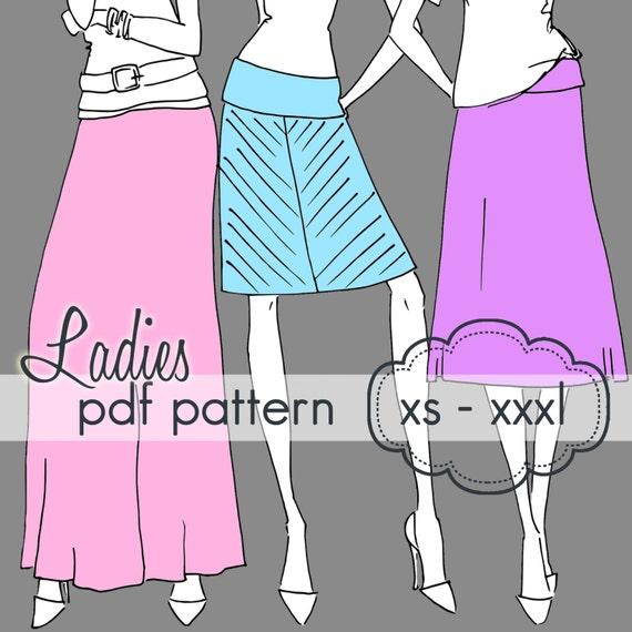 Ladies Yoga A-Line Skirt INSTANT DOWNLOAD xs through xxxl
