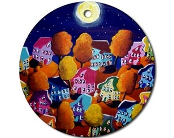Fall Funky Colorful Houses Trees 2 Folk Art Fun Whimsical Colorful Round Porcelain Ornament