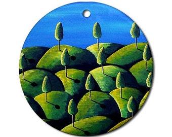 Green Peace Landscapegree Folk Art Fun Whimsical Colorful Round Porcelain Ornament