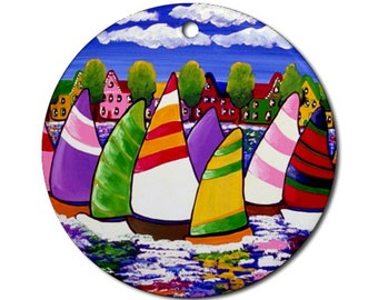 Fun Sailboats Sailing Folk Art Fun Whimsical Colorful Round Porcelain Ornament