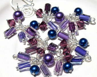 Purple and Blue Charm Bracelet, Cane Glass Swarovski Crystal & Glass Pearl Wire Wrapped Fringe Bracelet, Hand Forged Clasp