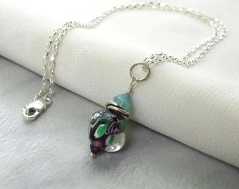 Purple Rose Lampwork Boro Pendant, Sterling Silver Wire Wrapped, Swarovski Crystals ... With/Without Necklace